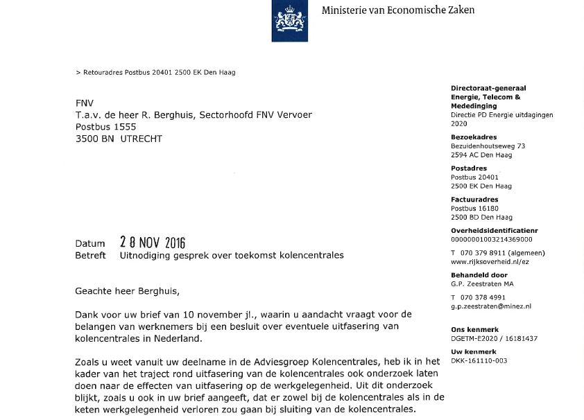 voorbeeldbrief uitnodiging gesprek Brief Minister Kamp uitnodiging voor 6 december voorbeeldbrief uitnodiging gesprek